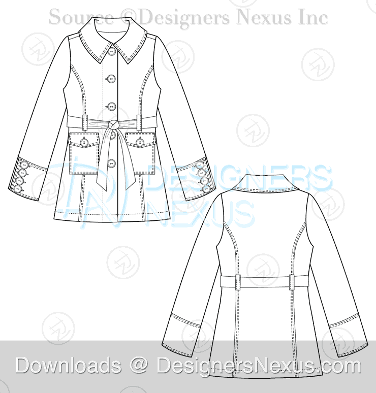 flat fashion sketch coat 042 preview image
