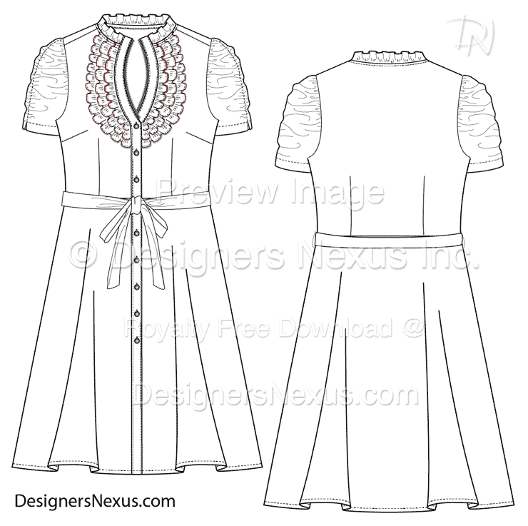 flat fashion sketch dress 025 download preview