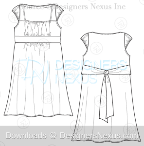 flat fashion sketch dress 039 download preview