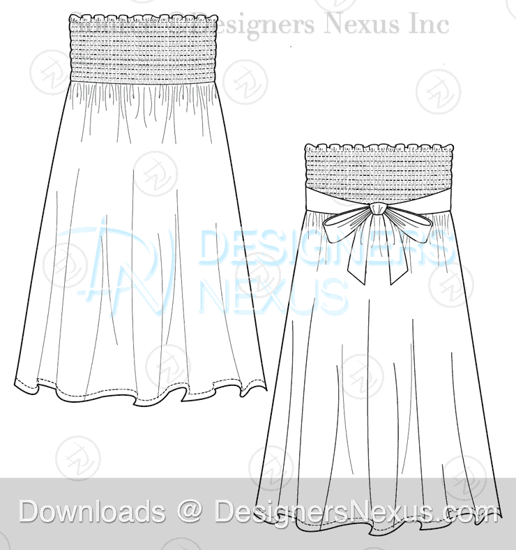 flat fashion sketch dress 040 preview image