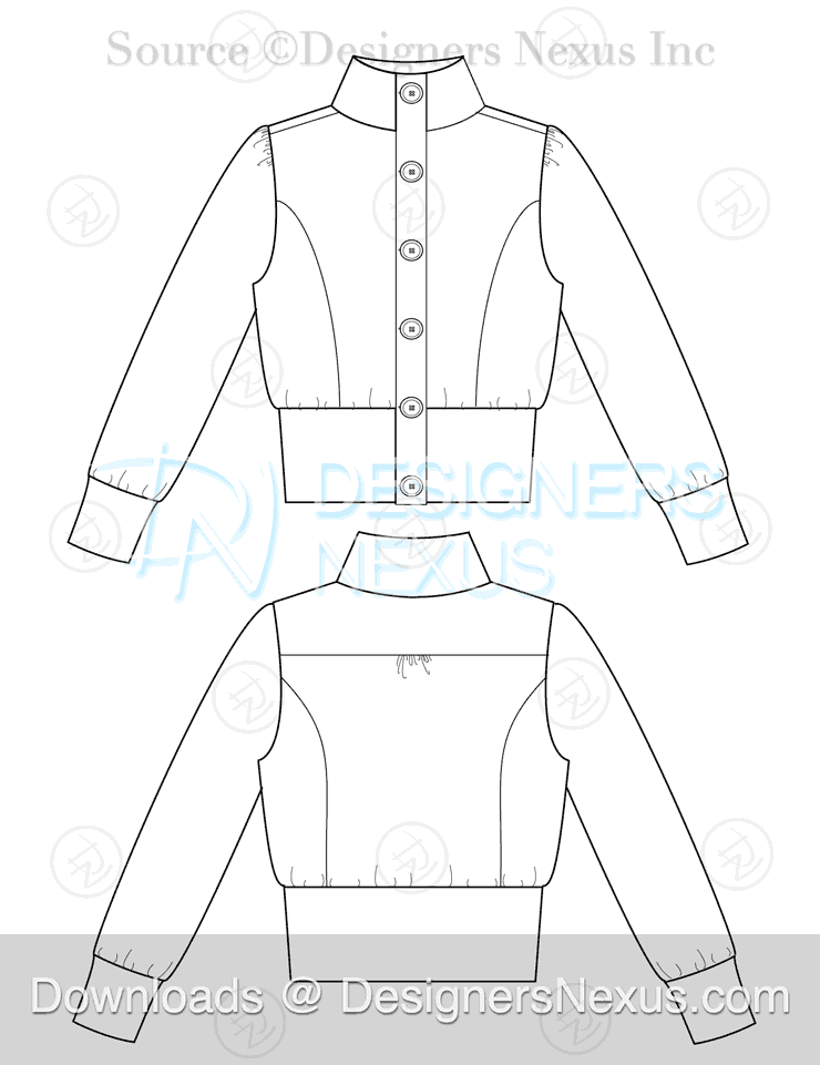 flat fashion sketch jacket 025 preview image