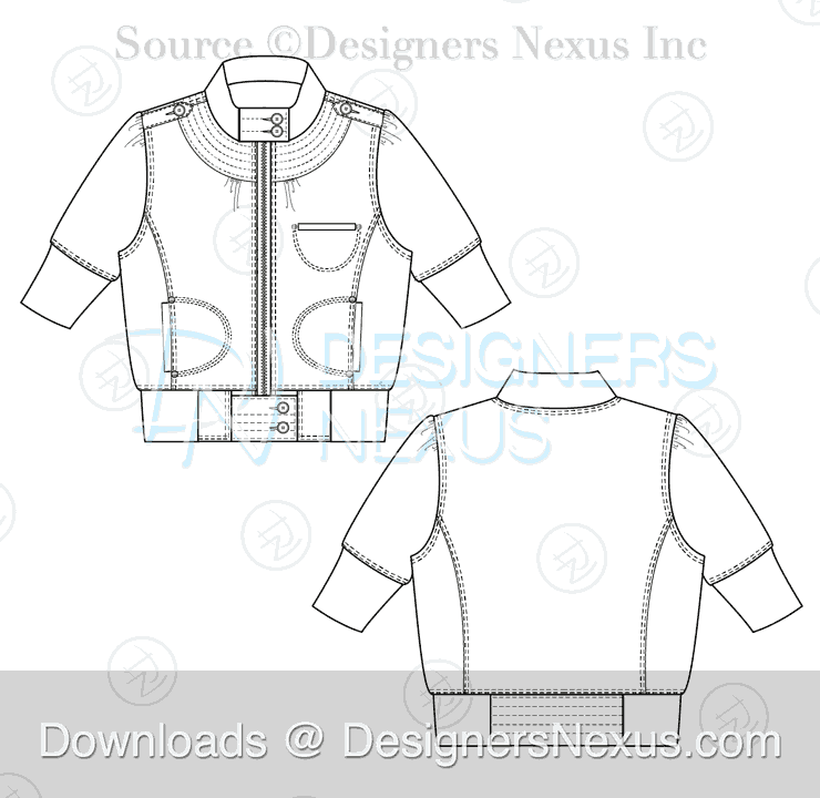 flat fashion sketch jacket 030 preview image