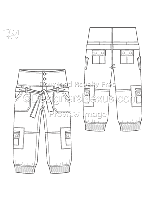 Flat Fashion Sketch Pants 017