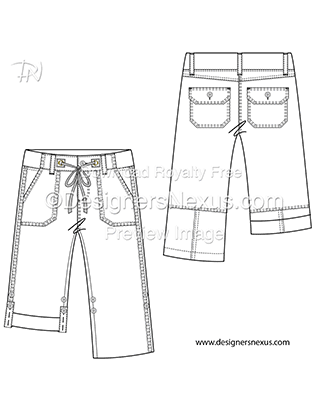Flat Fashion Sketches Bottoms: Pants Template 019