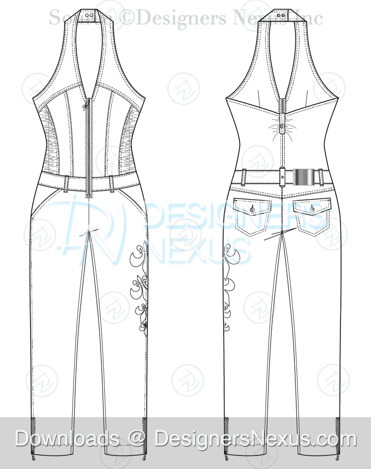 Women's jumpsuit fashion sketch preview image
