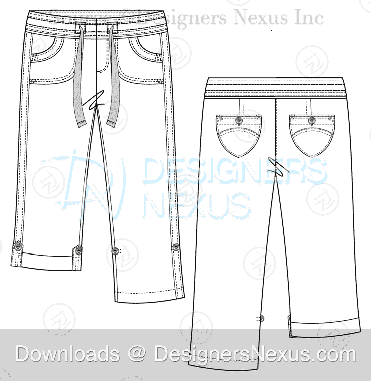 flat fashion sketch pants 039 preview image