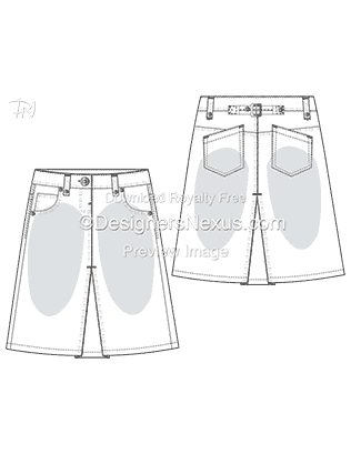 Flat Fashion Sketch: Skirt Template 013