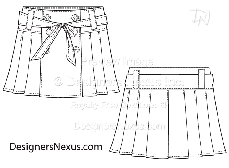 flat fashion sketch skirt 018 download preview