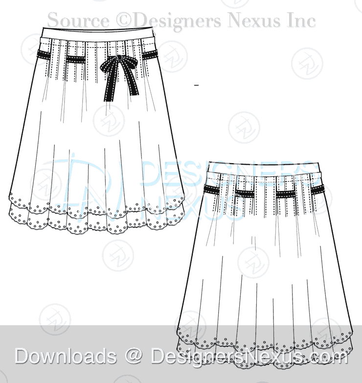 flat fashion sketch skirt 029 preview image