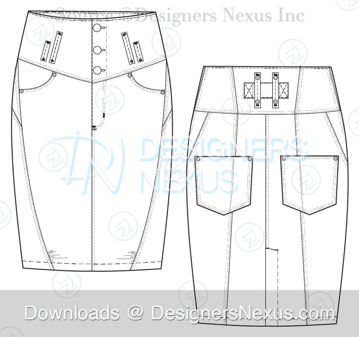 flat fashion sketch skirt 035 preview image