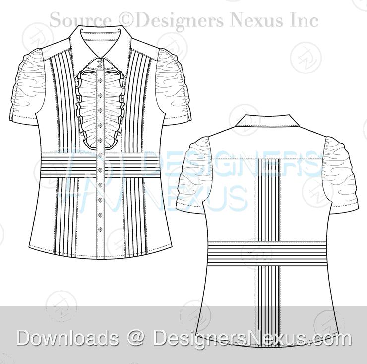 flat fashion sketch top 038 preview image