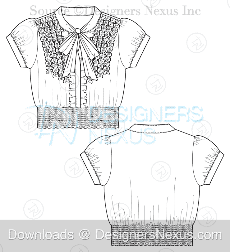 Illustrator Fashion Sketches Tops Blouse Template 047 Download