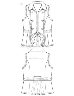 Flat Fashion Sketches: Vest Template 012