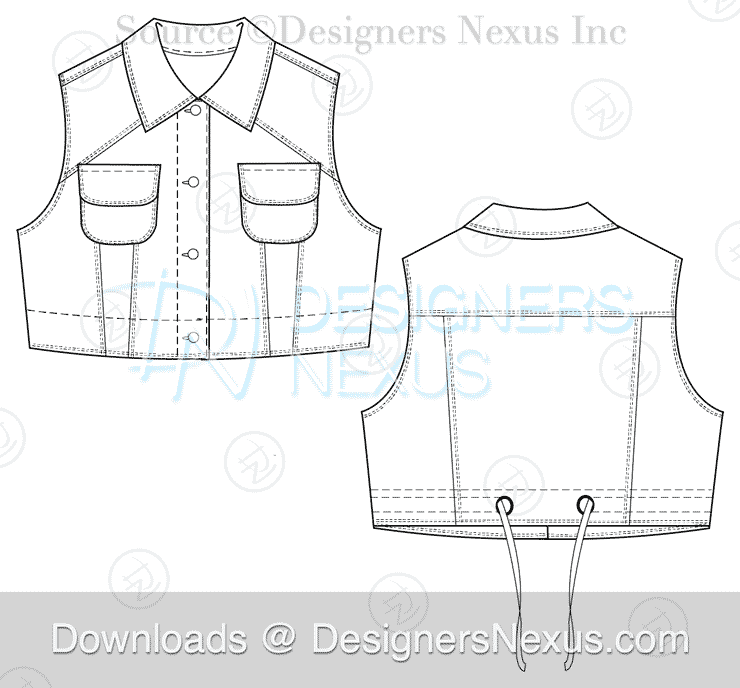 flat fashion sketch vest 026 download preview