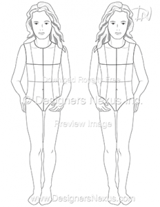 kids fashion figure croqui template 023 preview